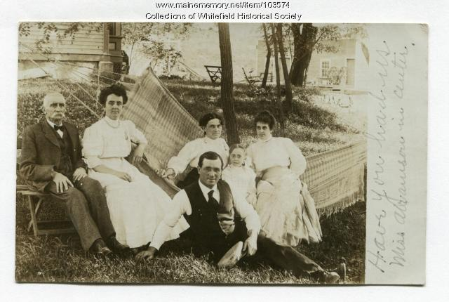 Achorn and Weeks families in hammock, Coopers Mills, Whitefield, ca. 1908