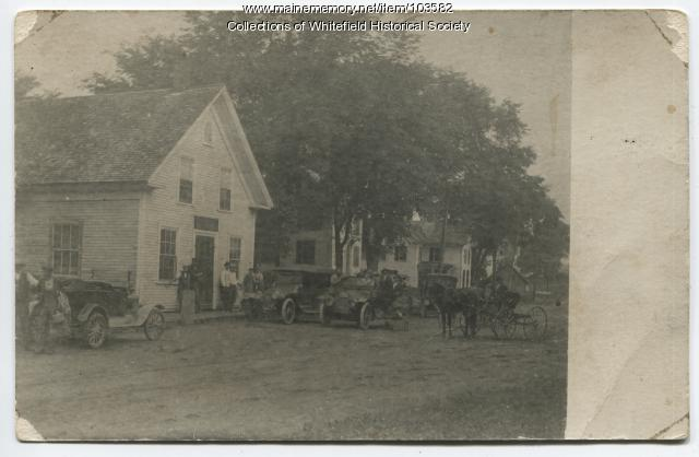 Autos versus horse, Coopers Mills, Whitefield, ca. 1920