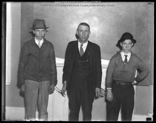 Portland youths under arrest, New Gloucester, 1936