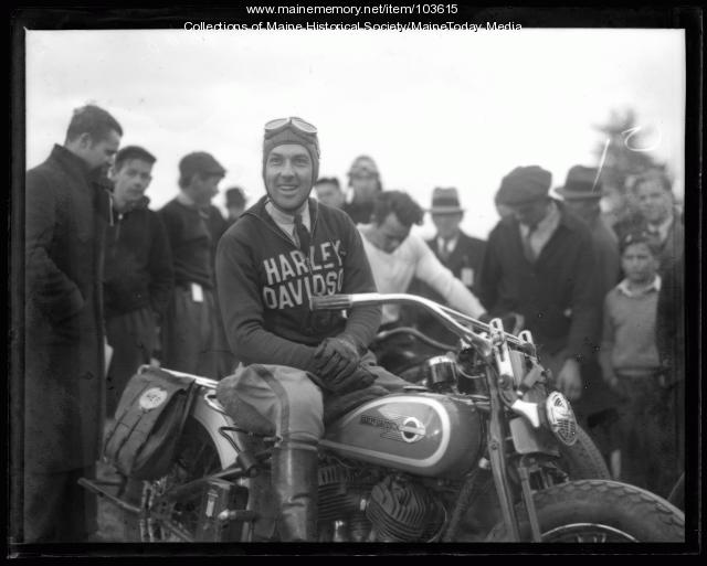 State Police trooper on a Harley Davidson, ca. 1936