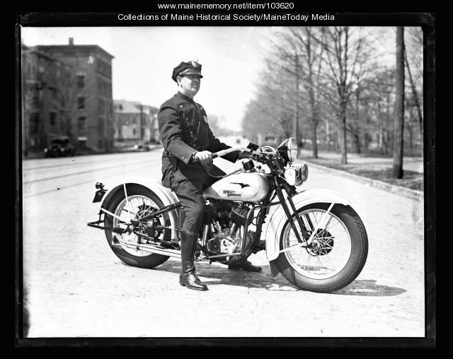 Ardon Boland on Harley-Davidson, Portland, 1933