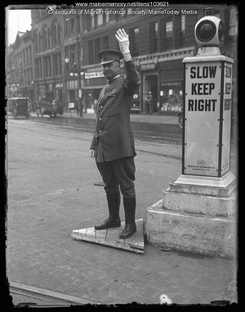 Sargent William S. Merrill directing traffic, Monument Square, Portland ca. 1925