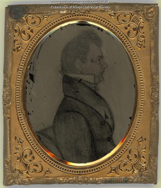Ambrotype of pencil drawing of man in profile view, ca. 1860