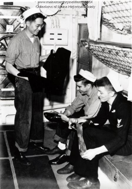 Arthur Goon on Navy ship, 1954