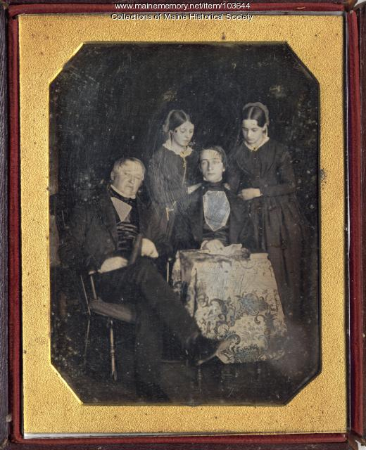 A father and his three children, ca. 1845