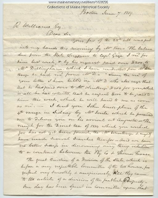 Letter from James Bridge to Reuel Williams discussing statehood, Boston, 1819
