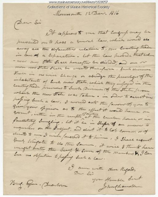 John Chandler to Henry Dearborn about coasting law and its potential repeal, Monmouth, 1816