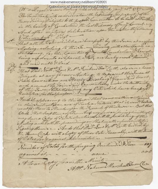 Town meeting regarding a Gorham convention, Berwick, 1787