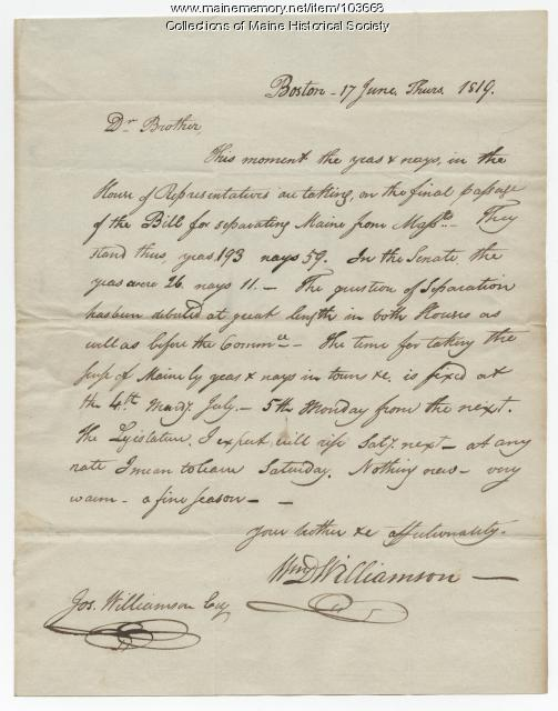 William Williamson to Joseph Williamson on the final vote for separation, Boston, 1819