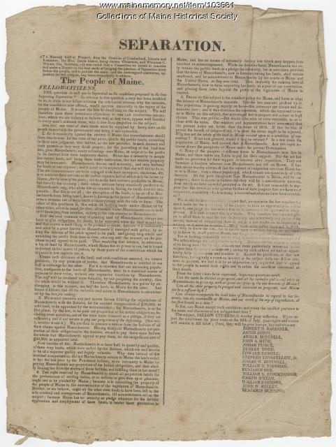 Anti-Separation Broadside, Freeport, 1819