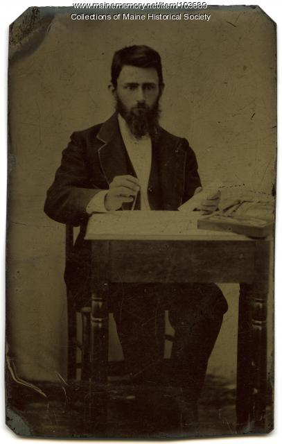 Man holding a compass, Rockland, ca. 1865