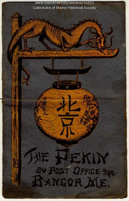 Menu of the Pekin Restaurant, Bangor