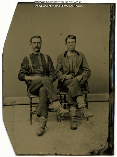 Two log drivers, Bangor, ca. 1865