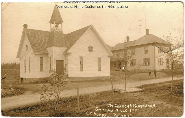Smyrna Mills church and parsonage, ca. 1908