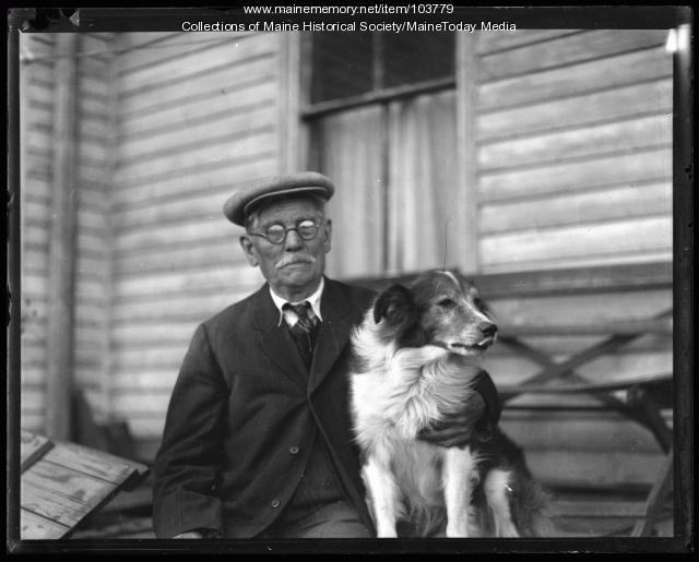 Samuel D. Lincoln and collie, West Falmouth, 1936