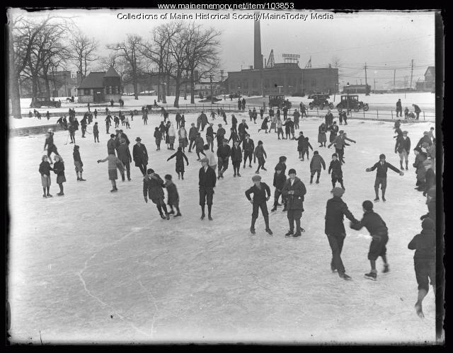 Ice skating, Deering Oaks, Portland, ca. 1924