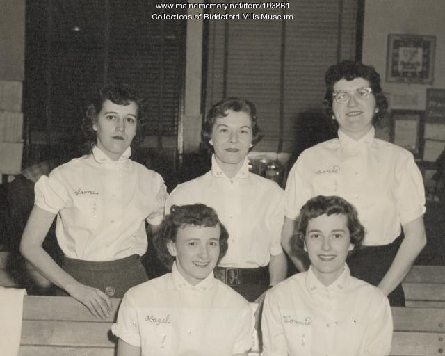 Union candlepin bowling women's league, Biddeford, ca. 1955
