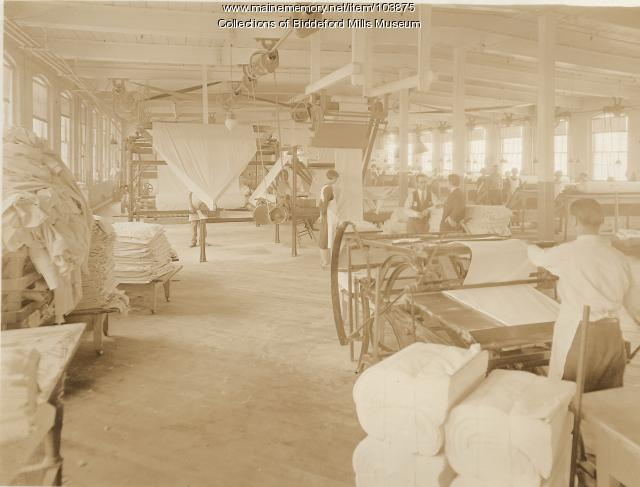 Pepperell Mills finishing room, Biddeford, ca. 1925