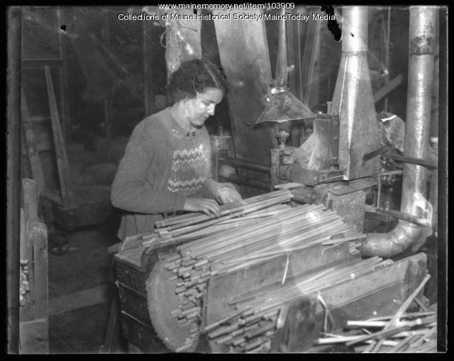 Saunders Brothers factory worker, Westbrook, 1936