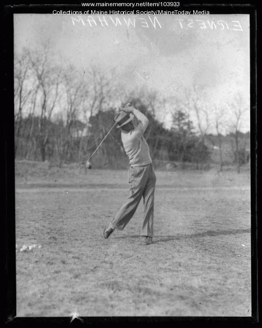 Ernest Newnham golfing, Falmouth, ca. 1930