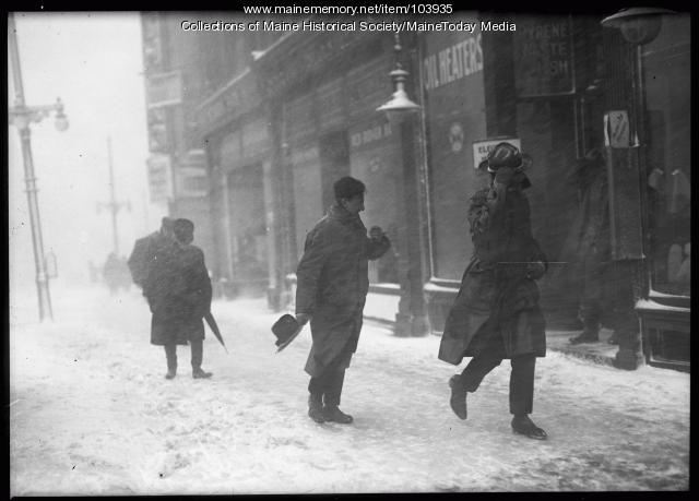 Blizzard in Monument Square, Portland, 1920