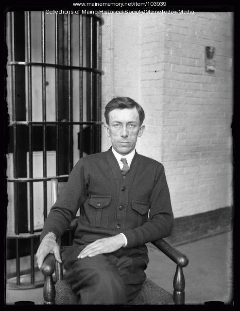 Harry A. Kirby in front of his cell, Augusta, 1925