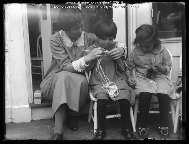 Knitting lesson, Portland Day Nursery, ca. 1925