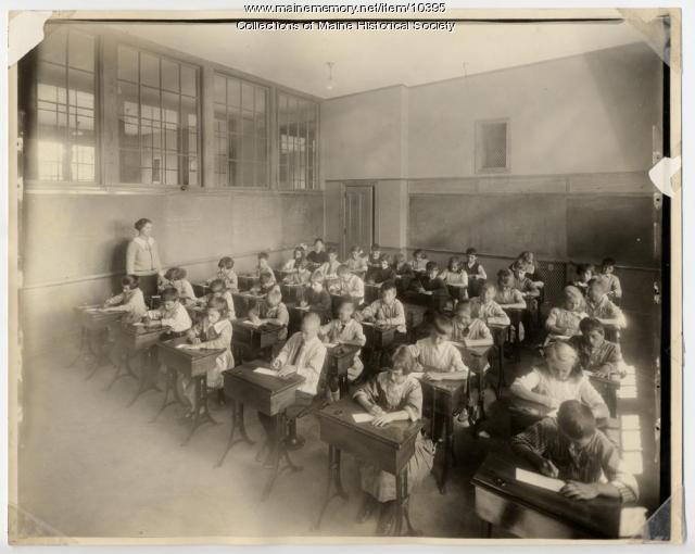 Students writing, North School, Portland, ca. 1910