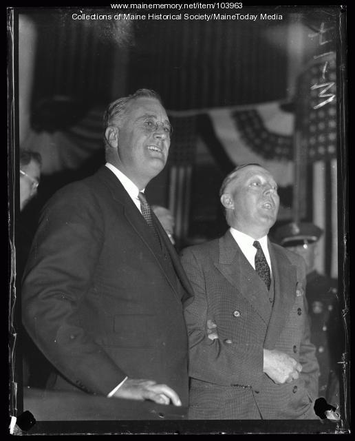 Franklin D. Roosevelt and Governor Brann, Portland, 1932