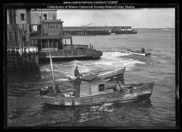 Fishermen aboard Herb Pick's motor boat, Portland, 1923