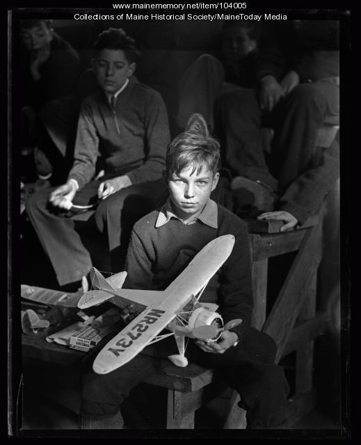 Boy at model airplane meet, Portland, 1935
