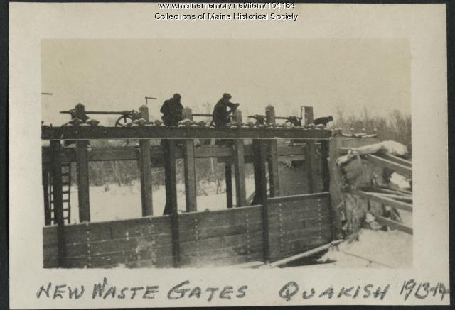 New Waste Gates at North Twin Dam, Millinocket, ca. 1914