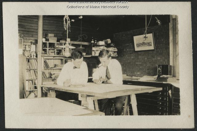 Draftsmen working in the engineer's office, Millinocket, ca. 1910