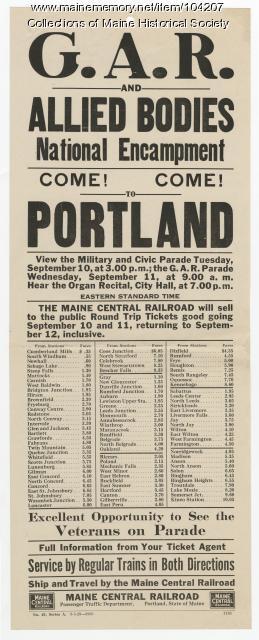 G.A.R. National Encampment announcement, Portland, 1929