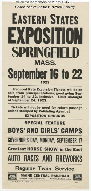 Eastern States Exposition announcement, Springfield, Massachusetts, 1923