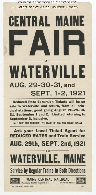 Central Maine Fair flyer, Waterville, 1921
