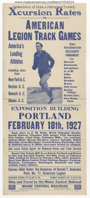 American Legion Track Games excursion flyer, Portland, 1927