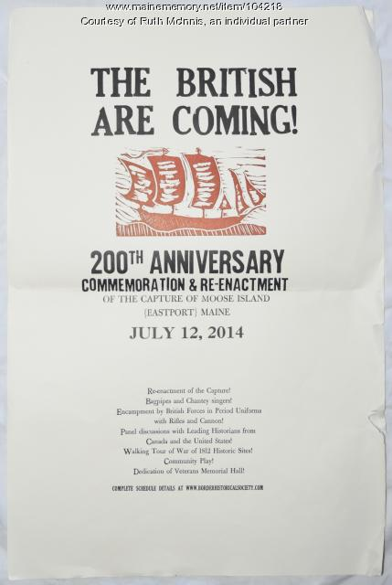 200th anniversary of the capture of Moose Island, Eastport, 2014