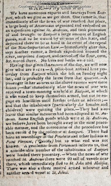 """Very Civil War"" details rumors and exodus of citizens, Eastport, 1812"