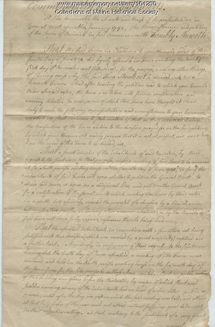 A petition against dividing the town of Berwick, 1799