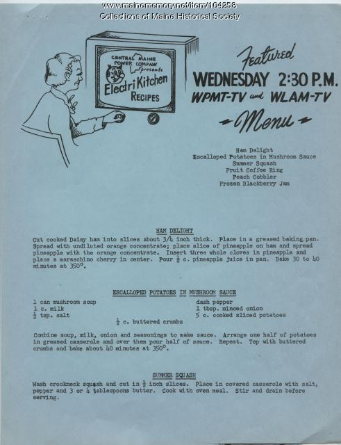 Electri Kitchen recipes - Ham Delight, 1954