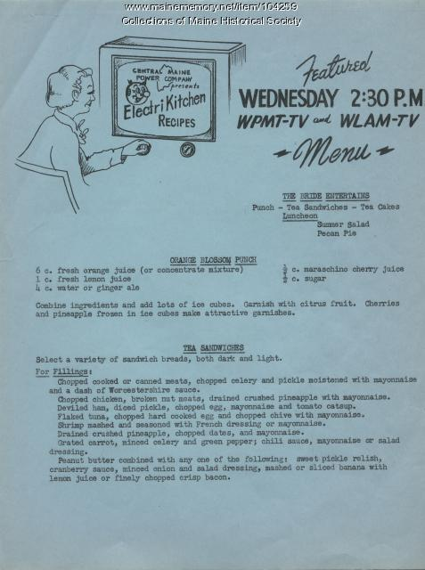 Electri Kitchen Recipes - The Bride Entertains, 1954