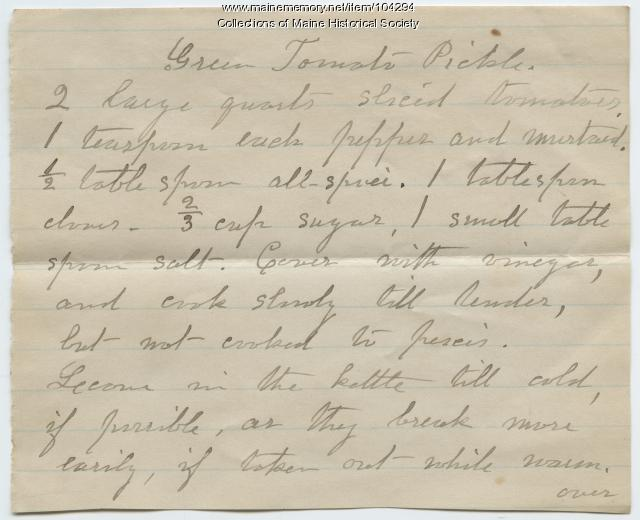 Green tomato pickle recipe, Norridgewock, ca. 1890