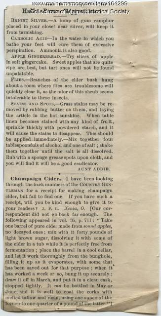 Six household suggestions and recipe for Champaign Cider, ca. 1890