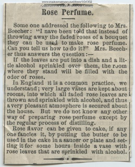 Recipe for reusing rose petals, ca. 1900