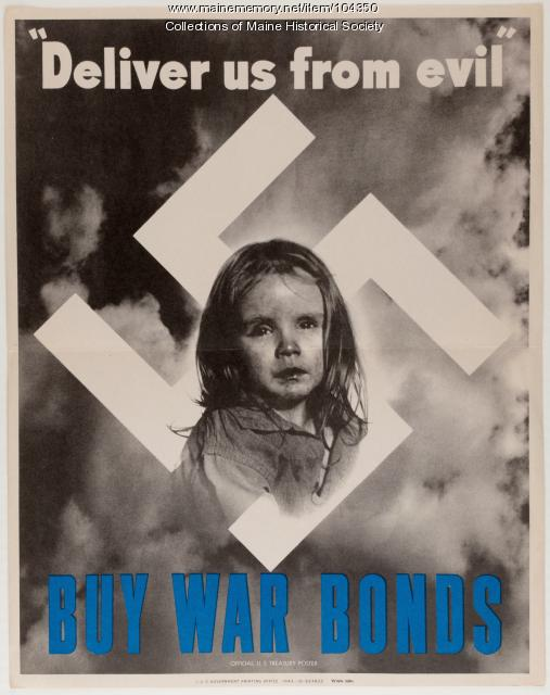 """Deliver us from evil: buy war bonds,"" World War II poster, 1943"