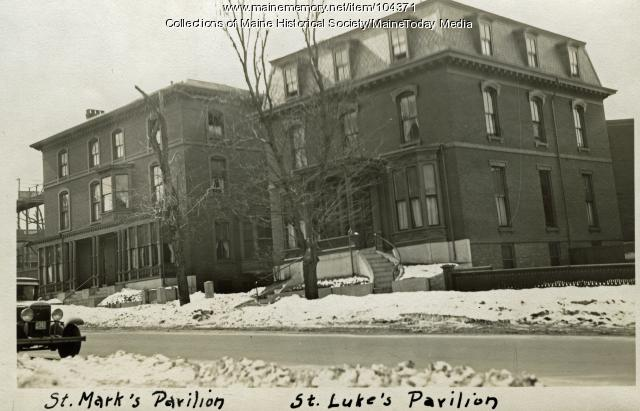 St. Mark's and St. Luke's pavilions at Queen's Hospital, Portland, ca. 1930