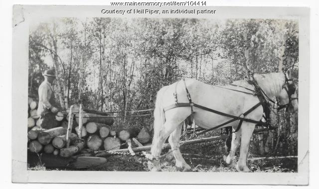 Horses hauling logs, Troy, ca. 1940
