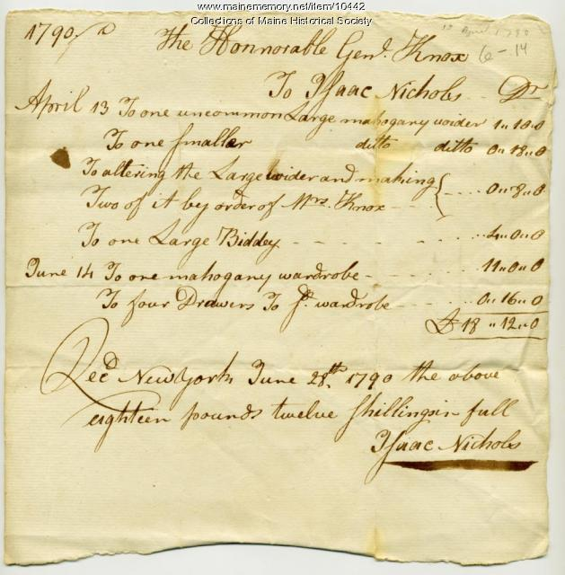 Henry Knox receipt to Isaac Nichols, June 28, 1790
