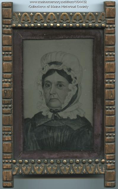 Drawing of a woman on a tintype, ca. 1870
